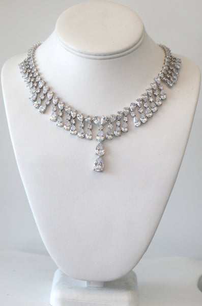 Clear Cubic Zirconia Wedding Necklace For buy Or Rent, wedding necklace, Ship the same day from Los Angeles CA