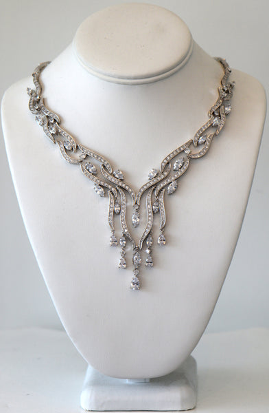Clear Cubic Zirconia Wedding Necklace For buy Or Rent Ship the same day from Los Angeles CA
