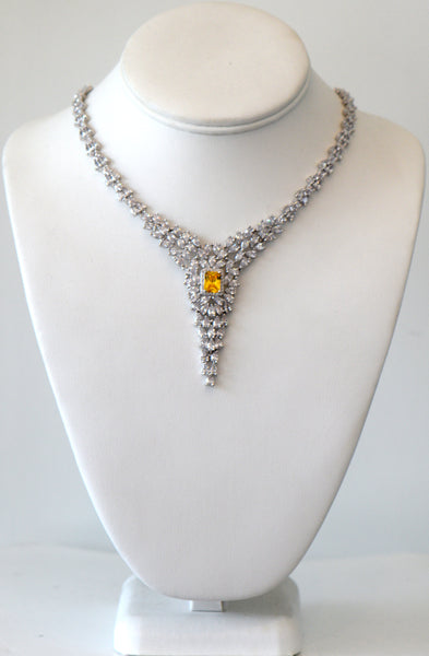 Clear and yellow cubic zirconia wedding necklace, For Rent Or Buy