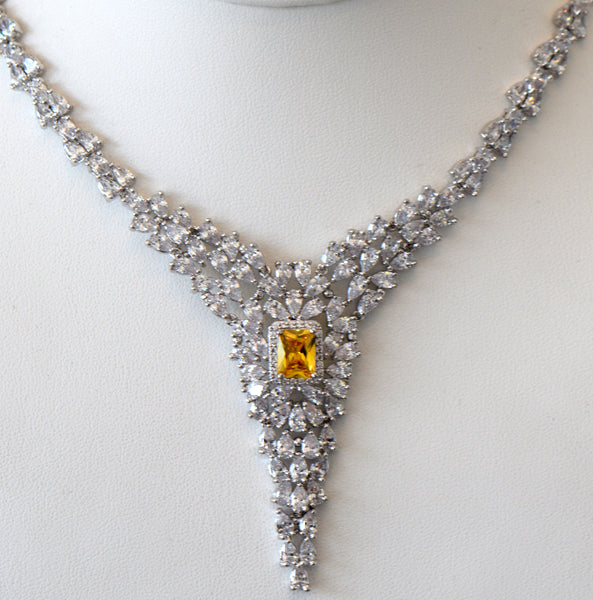 Heftsi Cubic Zirconia Wedding Necklace for rent or buy