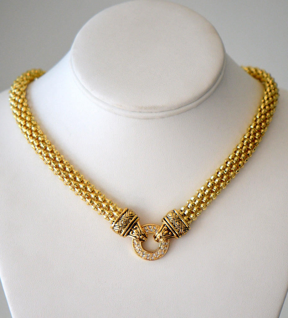 Gold Plated chain necklac with Pave center ring