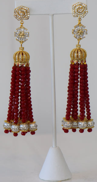 Heftsi Red Crystal Tassel Earrings