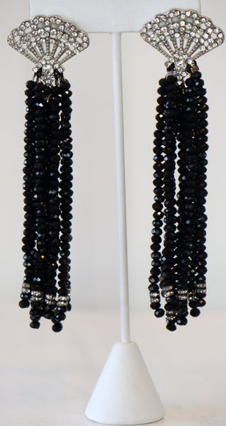 Heftsi Black Tassel Earrings