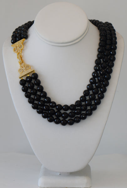 Heftsi Black onyx 3 row black necklace with gold Pave Clasp