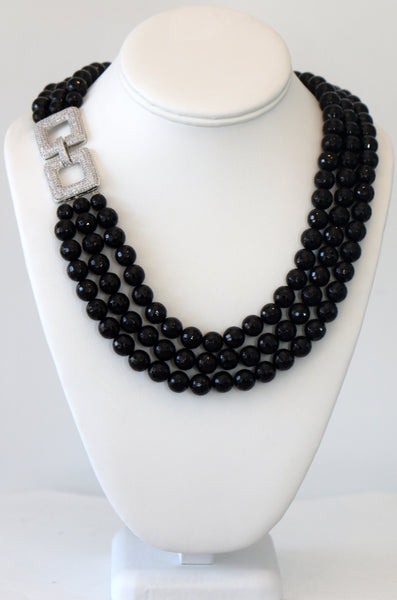 Heftsi Black Onyx 3 row classic necklace with square sterling silver clasp as a side pendant