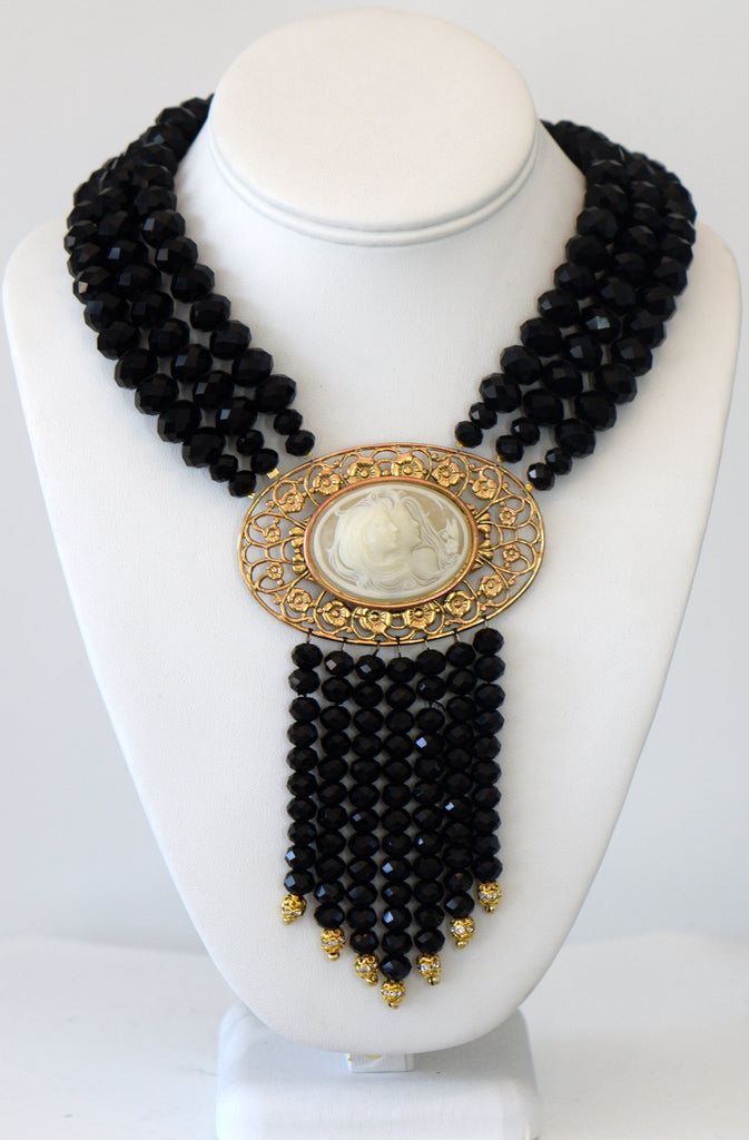 Heftsi Black Crystal 3 Row Necklace With Large Vintage Cameo Woman Face Center Piece