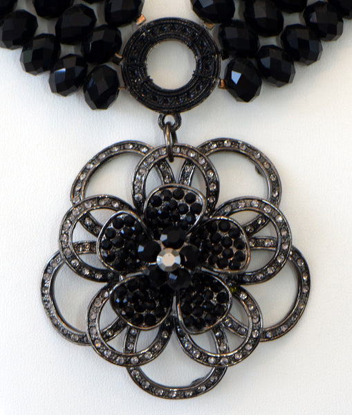 Heftsi Black Crystal 3 row Necklace with flower pendant