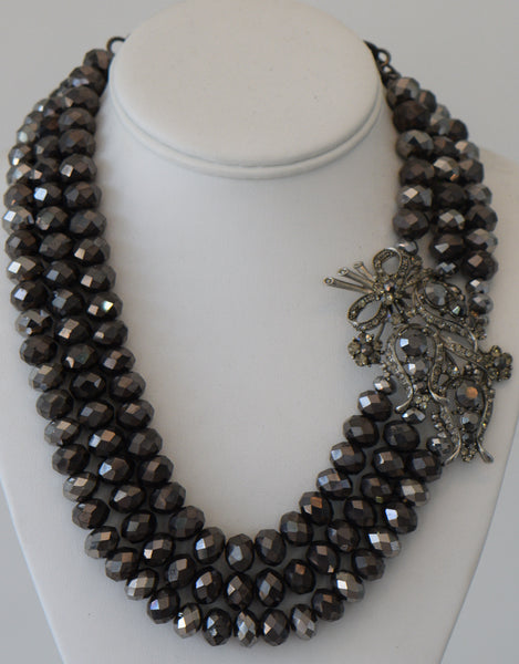 Dark Grey Crystal Necklace With Large Side Pendant