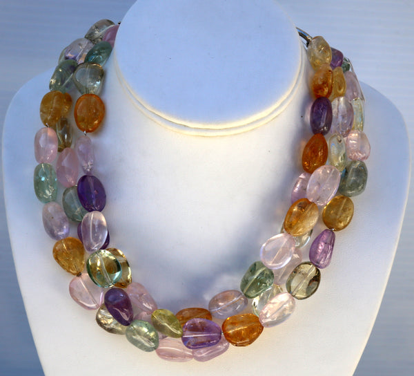 Multi Colors Stone Necklace, Amethyst, Citrin, Rose Quarts, and more