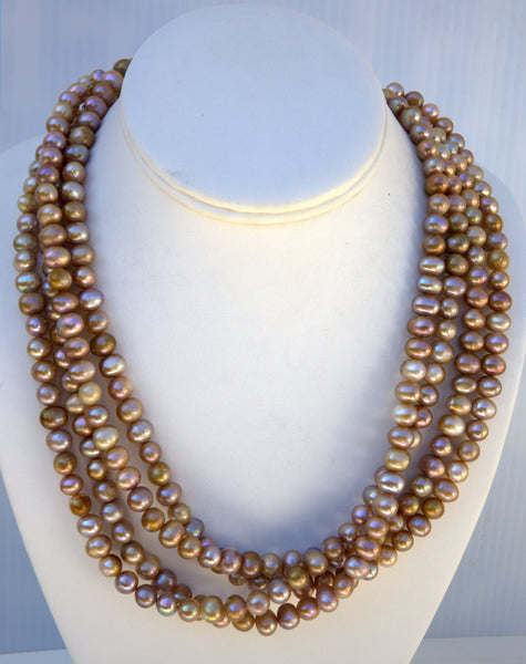 Heftsi Fresh water pearls necklace , beautiful earth ton colors