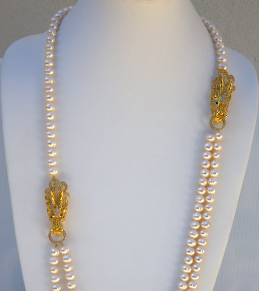 Long Fresh water Pearls Necklace with Side gold plated dragon face