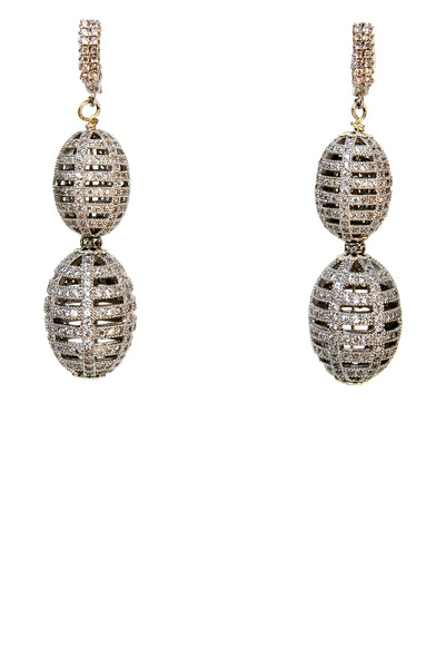 Silver Pave Balls Earrings