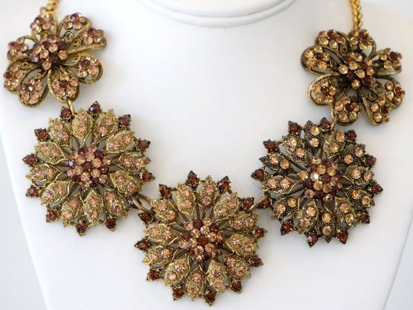 Heftsi Gold Plated Flower With Cubic Circon Stones Necklace