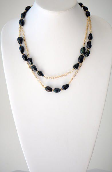 Black Baroque Pearl With Gold Chain Long Necklace