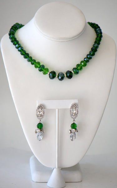 Green Crystal Set Holiday Gift