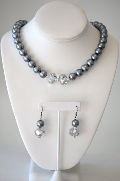 Silver beaded glass pearls with clear Crystal matching set