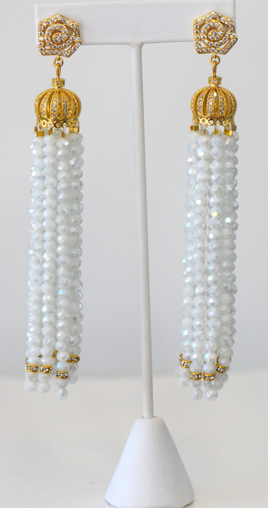 Heftsi White Crystal Wedding Tassel Earrings