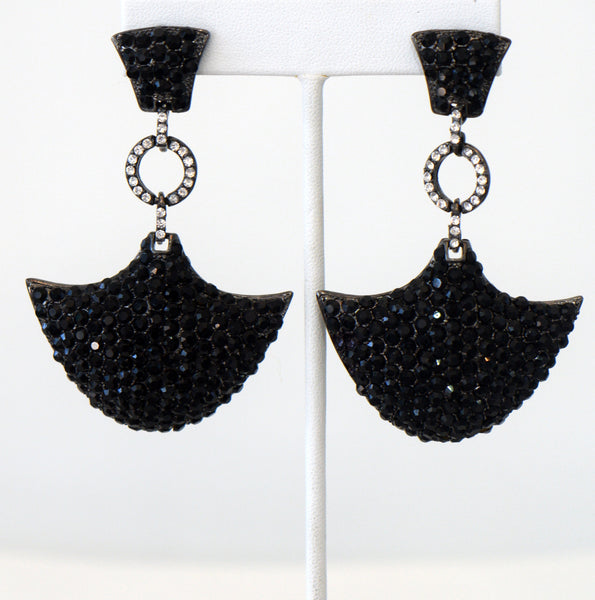 Heftsi Art Deco Black Earrings