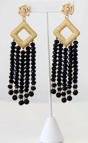 Heftsi Black Crystal Tassel Earrings With Gold Pave