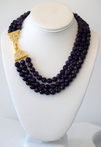 Heftsi Amethyst 3 row Necklace with Pave Side Clasp