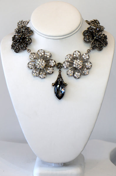 Heftsi Multi Flower Cubic Zircon  Necklace With A Black Drop Center Piece