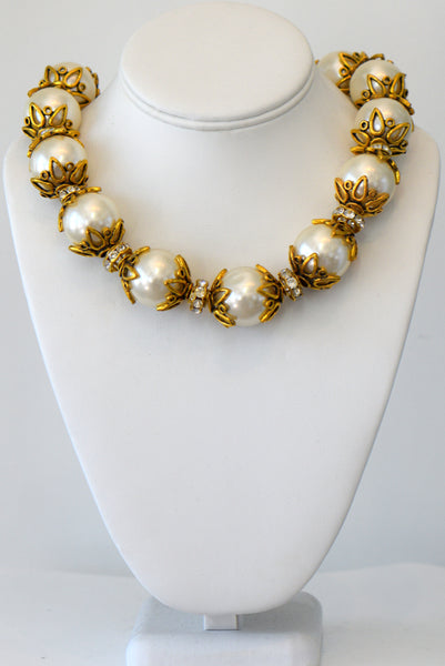 Large Faux Pearls with gold accent