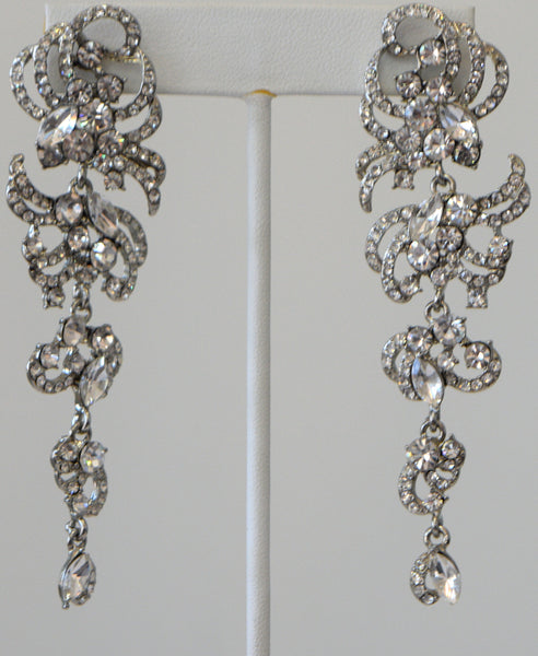 Heftsi Silver Plated Long Earrings With Clear CZ