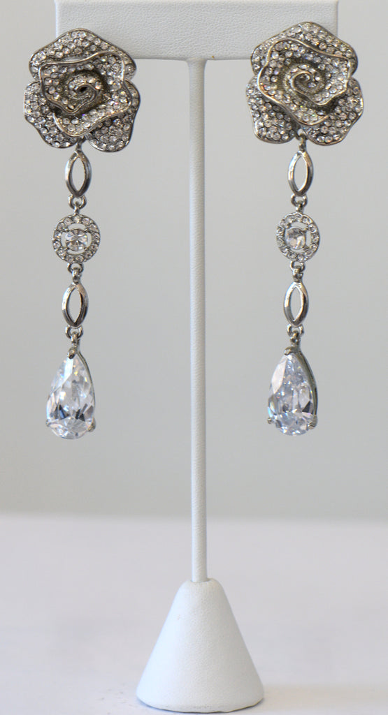 Heftsi Long Earrings With Beautiful Flower Top Cubic Zirconia Drop