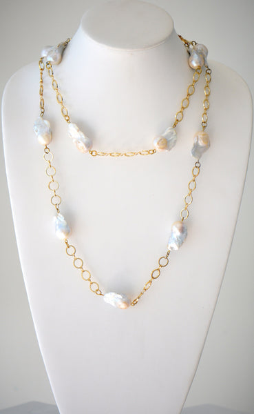 Gold plated chain necklace with Natural White Baroque pearl