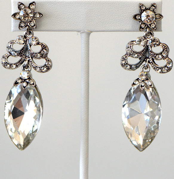 Clear Cubic Zirconia Drop Earrings