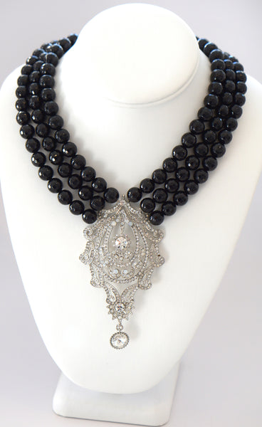 Heftsi Black Onyx 3 row Necklace With Large CZ Center Piece