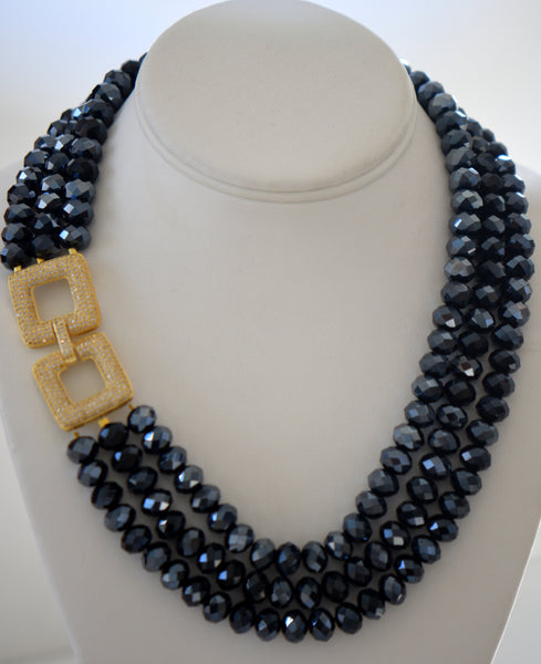 Heftsi Classic Blue 3 Row Crystal Necklace HandMade