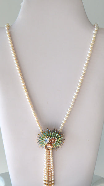 Heftsi Long Pearls Necklace with beautiful swarovski Pendant Tassel