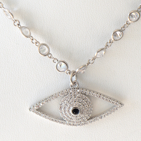 Heftsi Pave Evil eye Necklace with stone chain