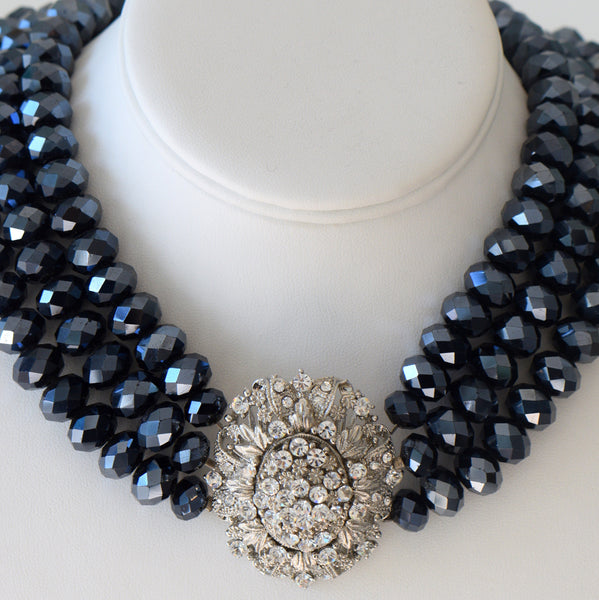 Heftsi Blue Crystal 3 row Necklace with large Clear CZ center piece