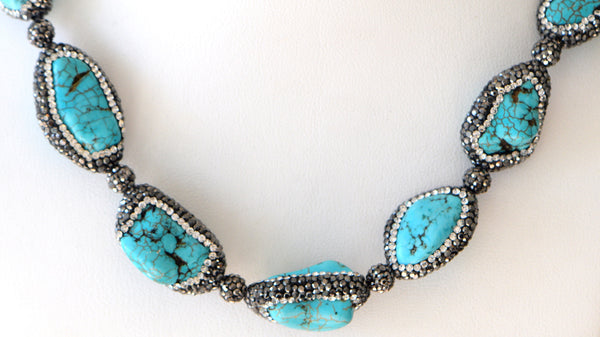 Heftsi Turquoise Pave Necklace