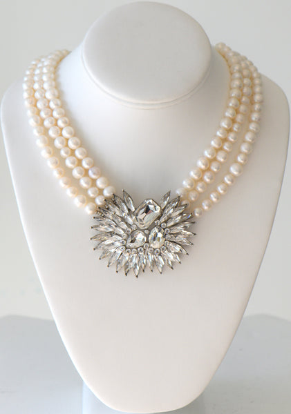 Heftsi Fresh Water Pearls Necklace With Vintage Look Clear Center Piece