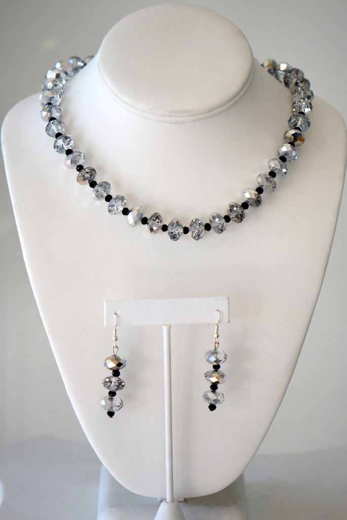 Black and clear Czech crystal beads neck set