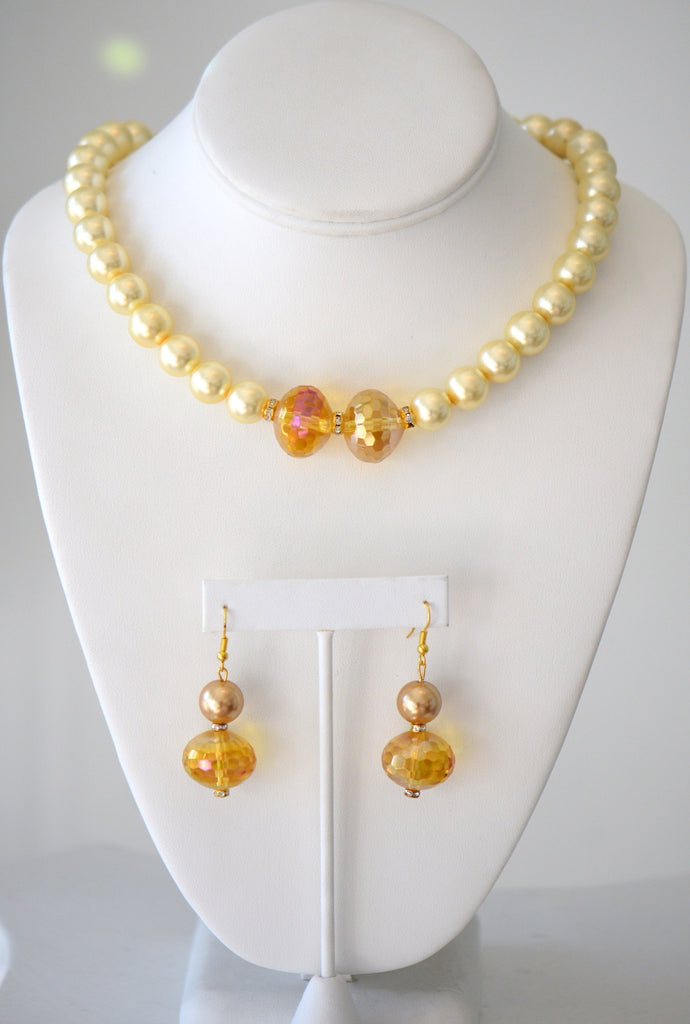 Sunrise glass pearl necklac set