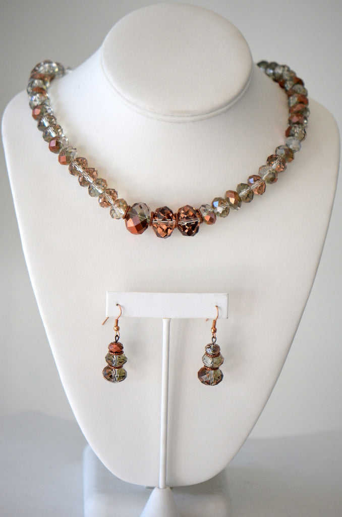 Clear and copper crystal necklace Set