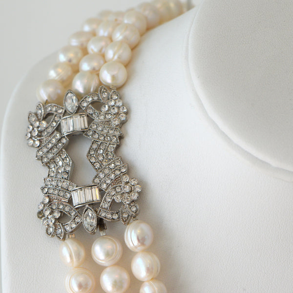 Heftsi Fresh Water Pearls 3 Row Necklace With Beautiful Side Pendant