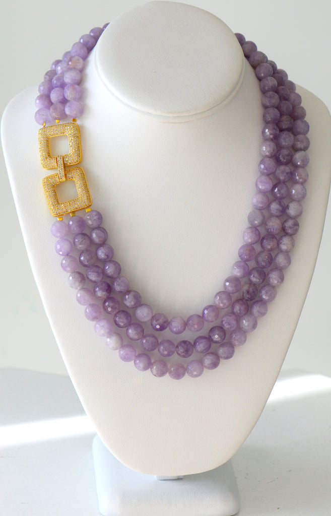 Heftsi Amethyst Multi row Necklace With Gold Plated Side Clasp