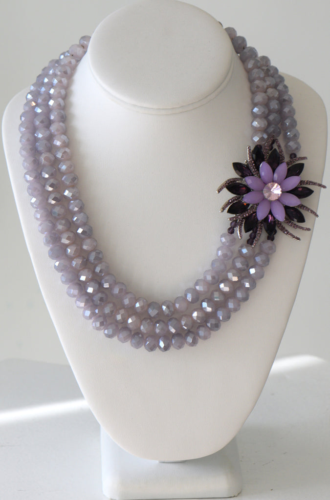 Light Purple crystal necklace with side large flower pendent