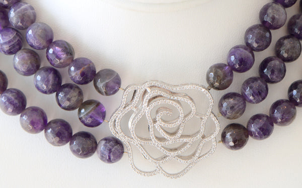 Heftsi Amethyst Multi row Necklace with Pave Rose Center Piece