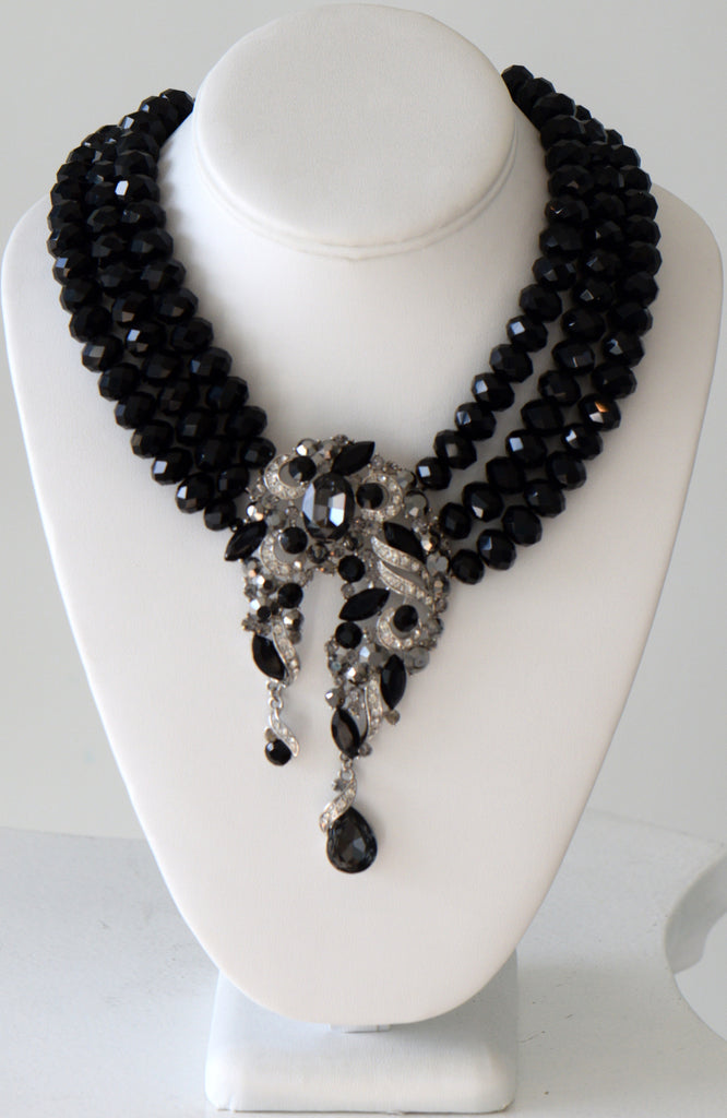Heftsi Black Multi Row Crystal Necklace With Large Center Piece