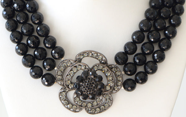 Heftsi Black Onyx Multi row Necklace With Large Flowre Center Piece
