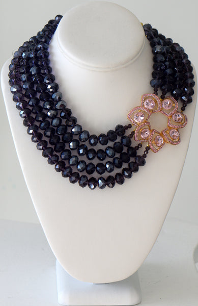 Heftsi Purple Crystal Necklace With Large Pink CZ Center Piece