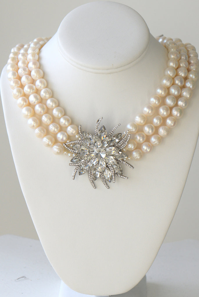 Heftsi Fresh Water Pearls Necklace With Swarovski Large Pendant