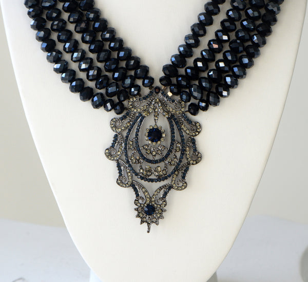 Heftsi Blue Crystal Multi row Necklace with large center piece