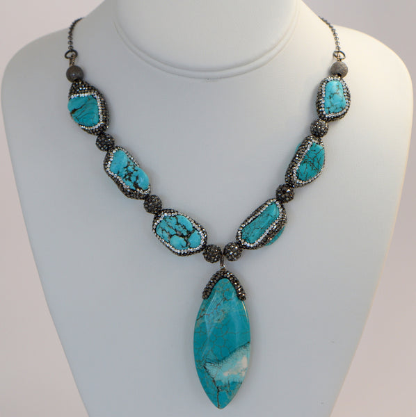 Heftsi Turquoise Necklace with turquoise nugget and black CZ on each nugget